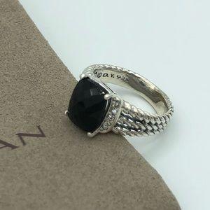 David Yurman Petite Wheaton Black Onyx Ring Size 6